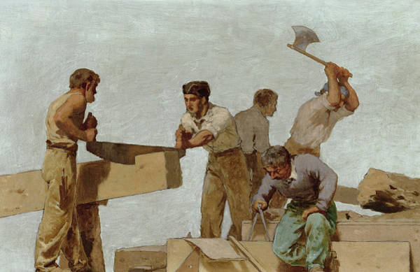 Men At Work Wall Art - Painting - Wood Structure by Jules Didier