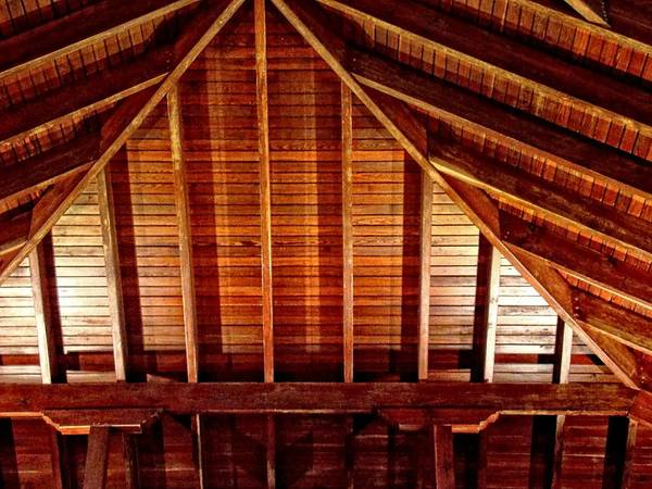 Photograph - Wood Truss Shining by Alice Gipson