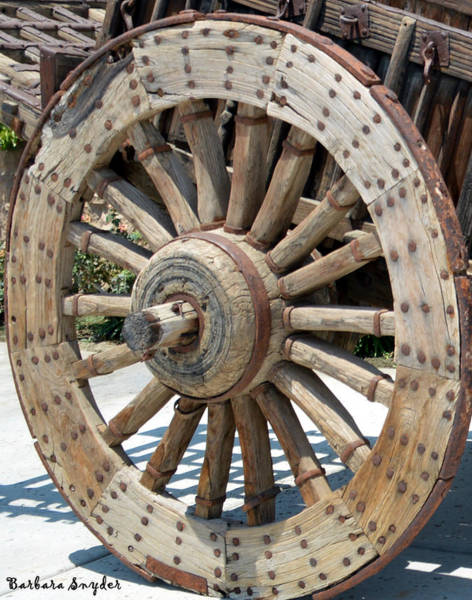 Wagon Wheel Digital Art - Wood Wheel by Barbara Snyder
