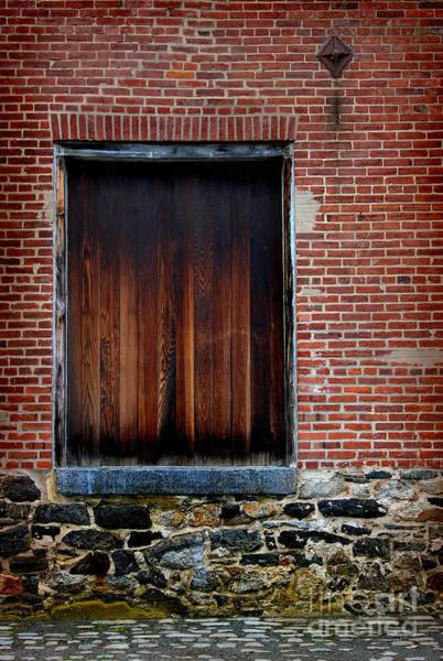 Photograph - Wood Window Brick Wall by Karen Adams