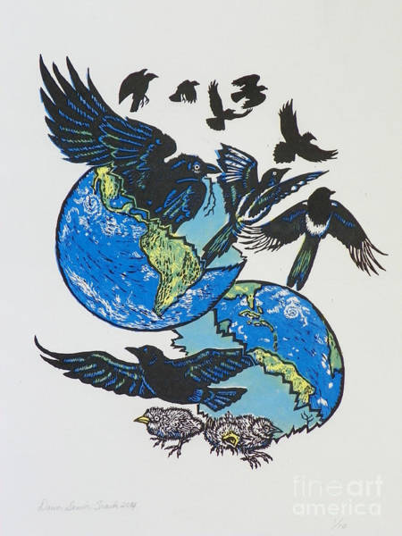 Magpies Drawing - Woodcut Cover Illustration For Corvidae - Poems By Bj Buckley by Dawn Senior-Trask