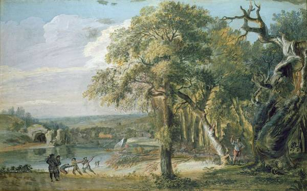 Pull Wall Art - Photograph - Woodcutters Near A River, C.1755 Wc On Paper by Paul Sandby