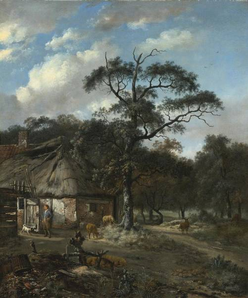 Circa Painting - Wooded Landscape With A Boy And Animals Near A Cottage by Celestial Images