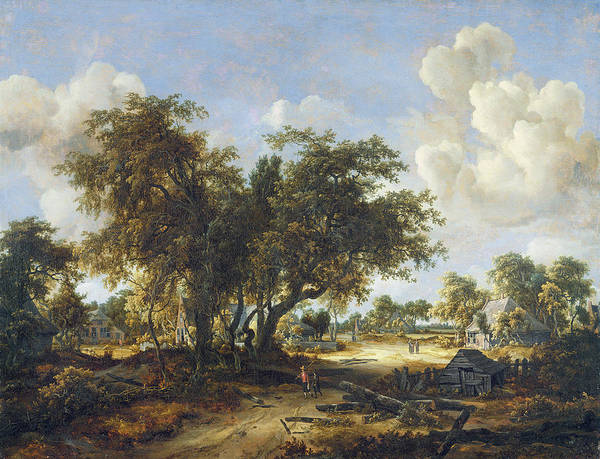 Meindert Hobbema Painting - Wooded Landscape With Cottages, 1665 by Meindert Hobbema
