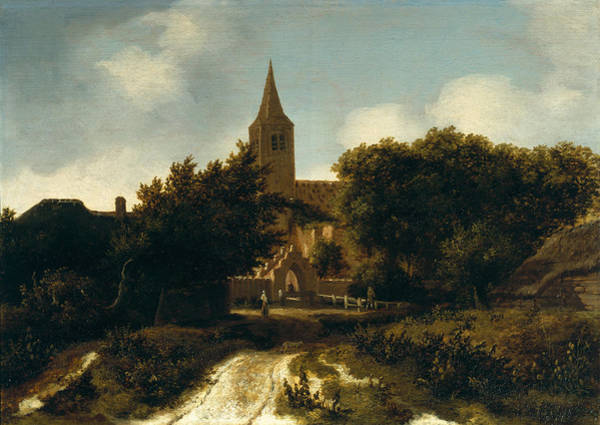 Steeple Wall Art - Photograph - Wooded Landscape With Figures Near A Church, C.1660 Oil On Panel by Meindert Hobbema