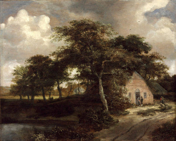 Meindert Hobbema Painting - Wooded Road With A Cottage by MotionAge Designs
