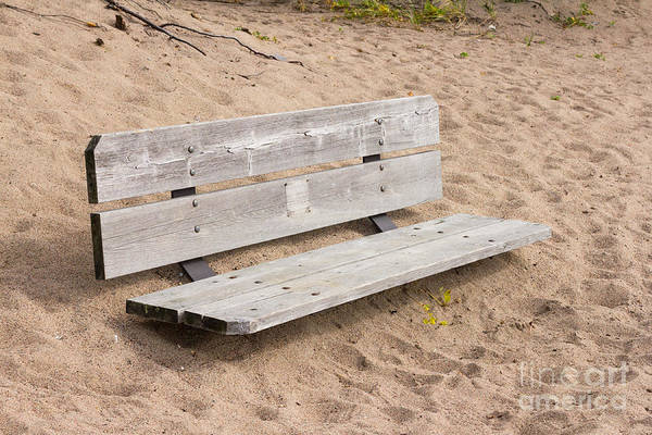 Burried Photograph - Wooden Bench Burried In The Sand by Les Palenik