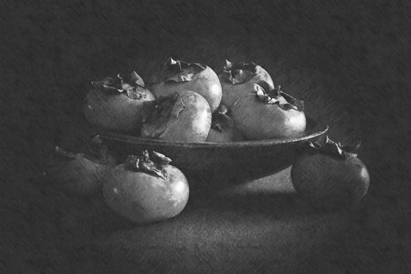 Wall Art - Photograph - Wooden Bowl Of Persimmons by Frank Wilson