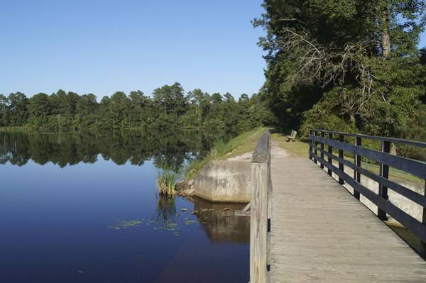 Photograph - Wooden Bridge By A Still Lake by MM Anderson