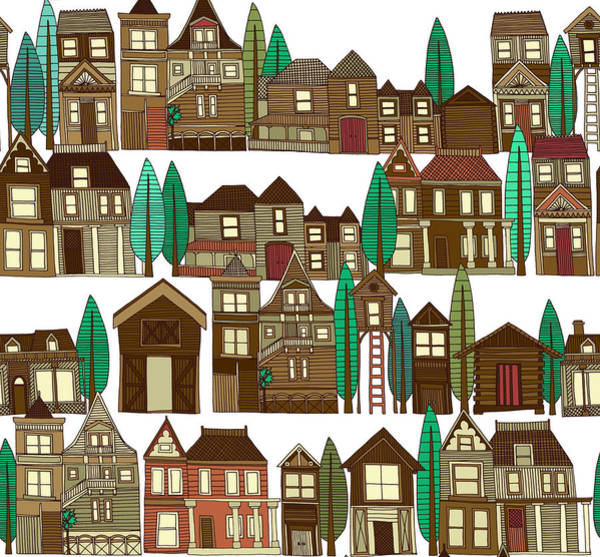 Building Drawing - Wooden Buildings White by MGL Meiklejohn Graphics Licensing