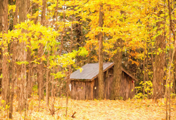 Photograph - Wooden Cabin In Autumn - Painterly by Les Palenik