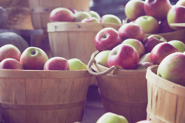 Retail Photograph - Wooden Crates Full Of Fresh Apples by Gabriela Tulian