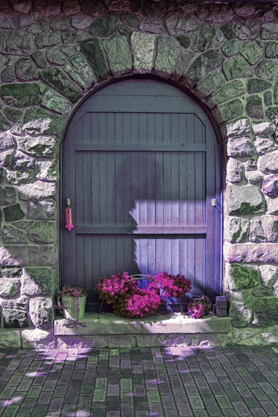 Photograph - Wooden Door Archway With Maroon Flowers by Randall Nyhof