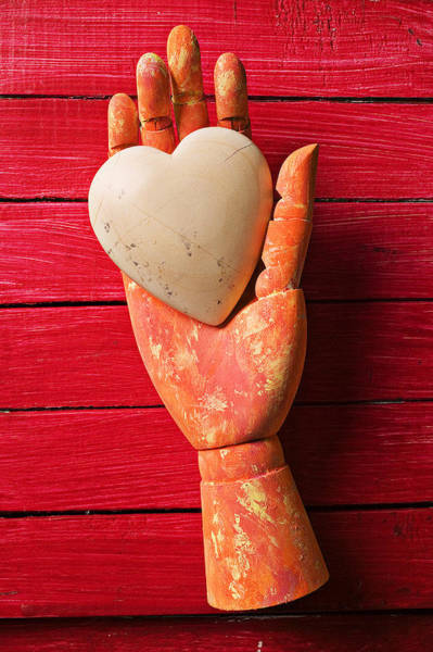 Soul Photograph - Wooden Hand With White Heart by Garry Gay