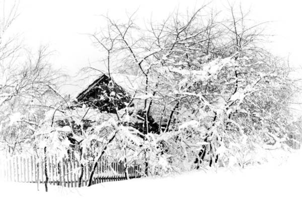 Wooden House After Heavy Snowfall. Russia Art Print