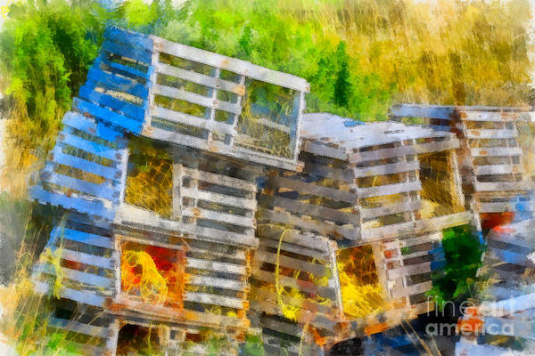 Photograph - Wooden Lobster Traps by Les Palenik
