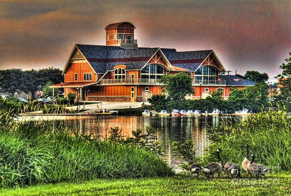 Photograph - Wooden Lodge Over Looking A Lake by Jim Lepard