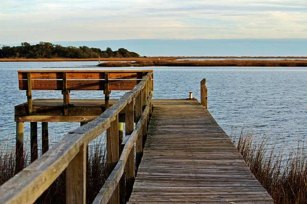 Photograph - Wooden Pier And Bench by Cynthia Guinn