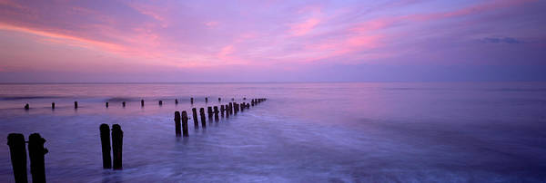 Wall Art - Photograph - Wooden Posts In Water, Sandsend by Panoramic Images