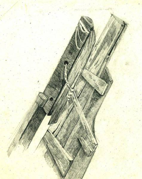Restaurant Decor Drawing - Wooden Remains Of An Old Boat by Makarand Joshi