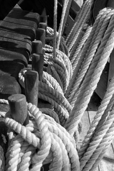 Wall Art - Photograph - Wooden Ship Nina Ropes Bw by Thomas Woolworth