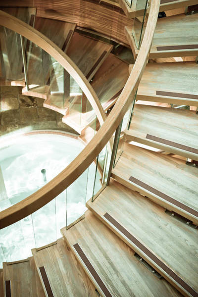 Apartments Photograph - Wooden Staircase by Tom Gowanlock