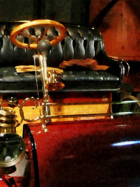 Photograph - Wooden Steering Wheel On Car by Susan Savad