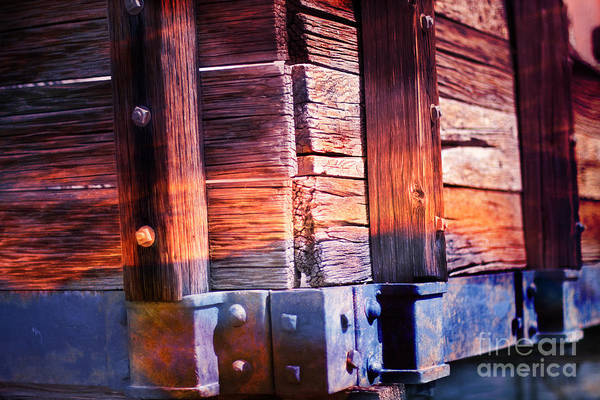Photograph - Wooden Wagon Side In Colors by Gunter Nezhoda