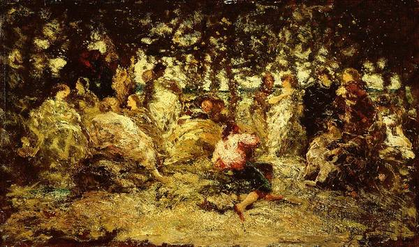Impressionist Photograph - Woodland Fete Oil On Panel by Adolphe Joseph Thomas Monticelli