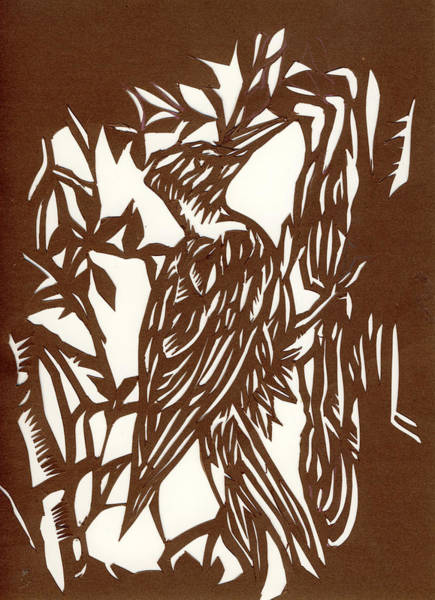 Cut-out Mixed Media - Woodpecker Paper Cut by Alfred Ng