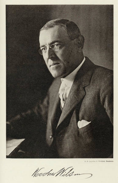 Wall Art - Photograph - Woodrow Wilson  American President And by Mary Evans Picture Library