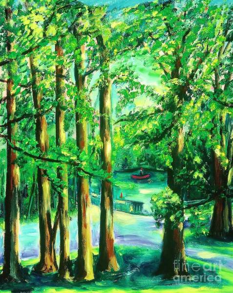 Wall Art - Painting - Woodside View Green by Karen Francis