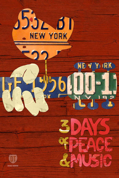 Peace Mixed Media - Woodstock Music Festival Poster License Plate Art by Design Turnpike