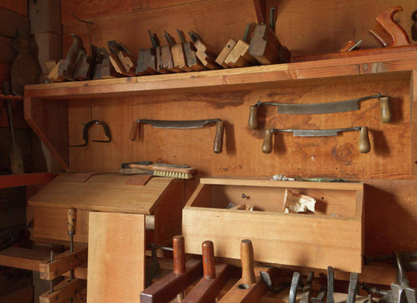 Blacksmith Wall Art - Photograph - Woodworking Tools In Carpentry Shop by William Sutton