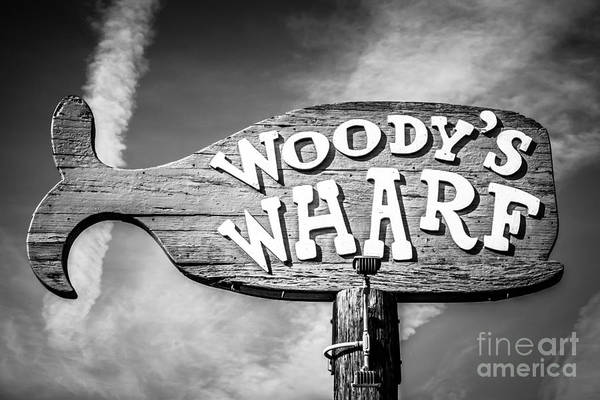 Balboa Photograph - Woody's Wharf Sign Picture In Newport Beach by Paul Velgos