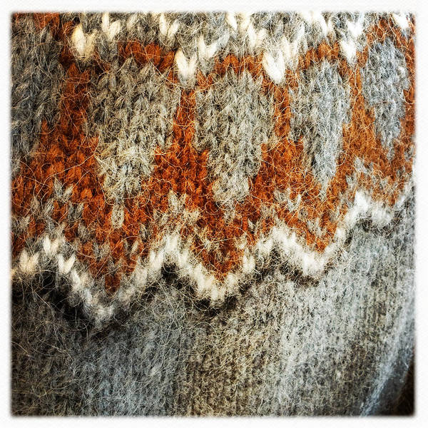 Woolen Jersey Detail Grey And Orange Art Print