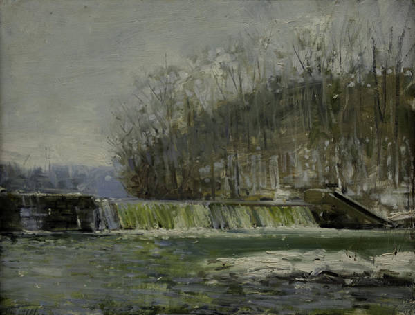 Wall Art - Painting - Woolen Mills Dam In The Snow by Edward Thomas