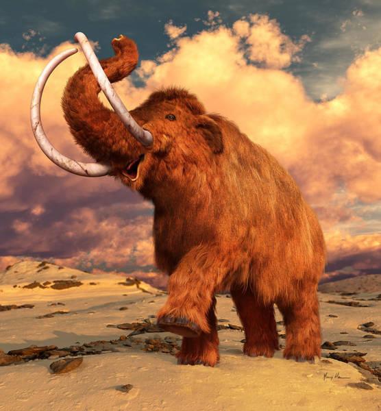 Bone Painting - Woolly Mammoth by Gary Hanna