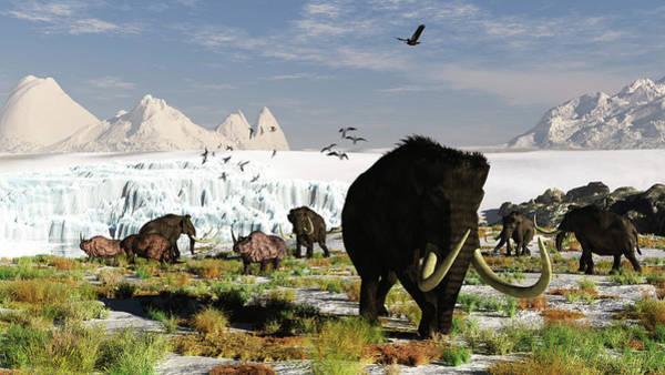 Prehistoric Era Wall Art - Digital Art - Woolly Mammoths And Woolly Rhinos In A by Arthur Dorety/stocktrek Images