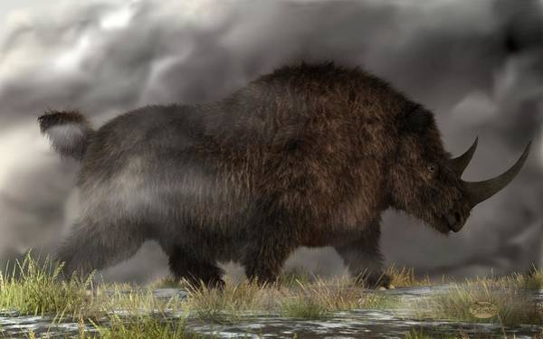Digital Art - Woolly Rhinoceros by Daniel Eskridge
