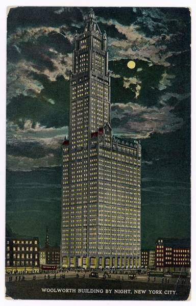 Wall Art - Drawing - Woolworth Building By Night, New York by Mary Evans Picture Library