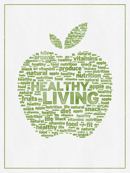 Wall Art - Digital Art - Words Healthy Living - Green Ink by Aged Pixel