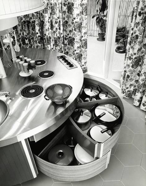 Curve Photograph - Work Island In A Kitchen by Pedro E. Guerrero