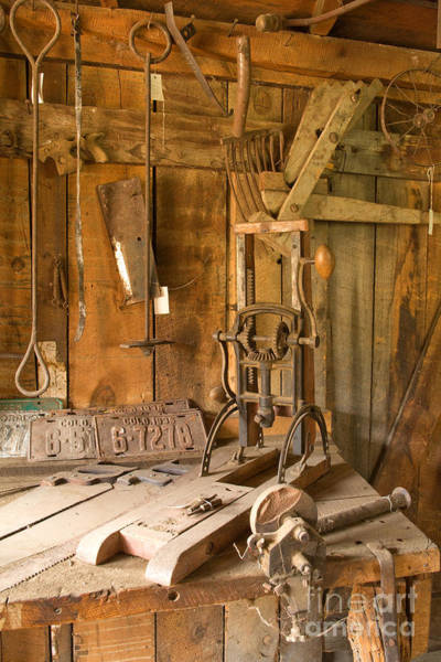 Photograph - Workbench In The Blacksmith Shop At The  Macgregor Ranch by Fred Stearns