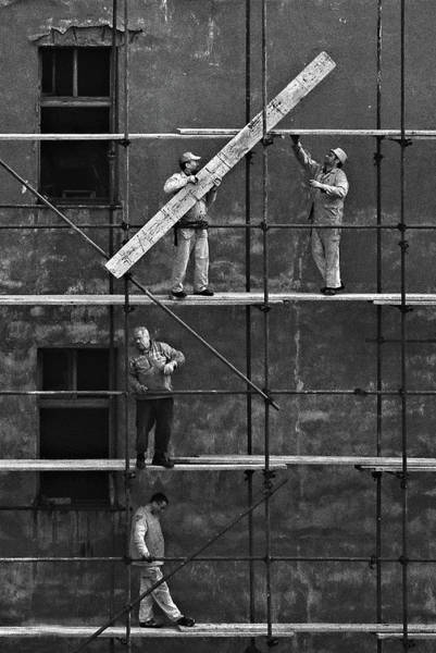 Scaffold Photograph - Workers 2 by Violeta Milutinovic