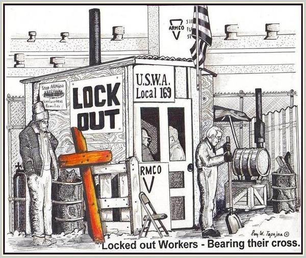 Drawing - Workers Bear Their Cross  by Ray Tapajna