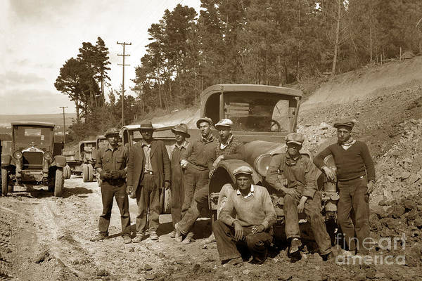 Photograph - Workers On Highway One Monterey Carmel Hill California 1929 by California Views Archives Mr Pat Hathaway Archives
