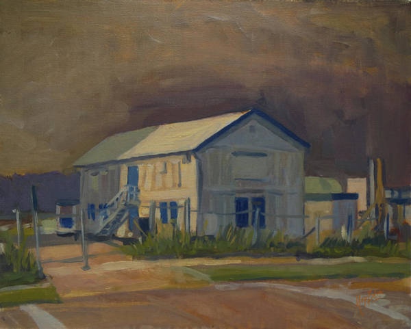 Worker's Shed Just Before The Rain Art Print