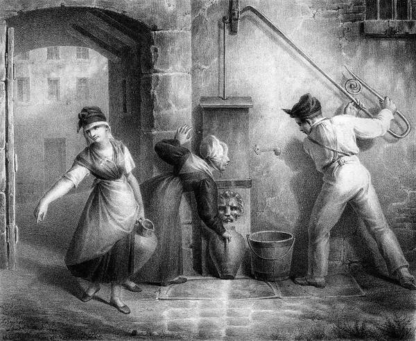 Pump Drawing - Working A Street Pump          Date by Mary Evans Picture Library