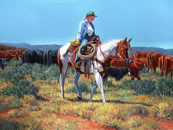 Wall Art - Painting - Working Cowgirl by Randy Follis